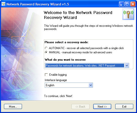 network password recovery wizard network password recovery wizard network tools system. Black Bedroom Furniture Sets. Home Design Ideas